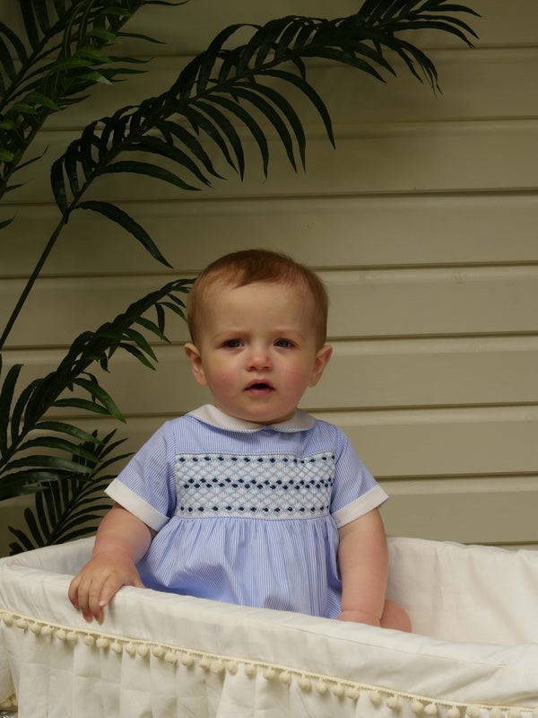 Striped Smocked Babysuit