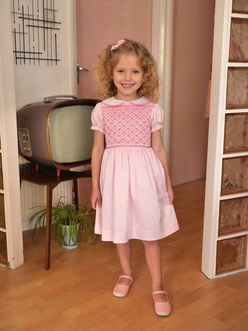 bow smocked dress, heritage, girl dress, formal, Rachel Riley dress, forma, pink, smocked