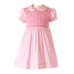 bow smocked dress, heritage, baby girl dress, formal, Rachel Riley dress, forma, pink