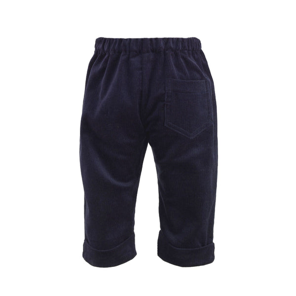 babycord trousers, navy corduroy trousers, baby boy trousers, formal, Rachel Riley trousers, navy