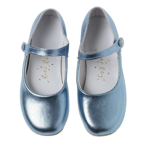 Button Strap Slipper, Blue Metallic