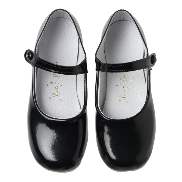 Button Strap Slipper, Black Patent