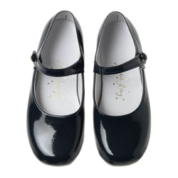 Button Strap Slipper, Navy Patent