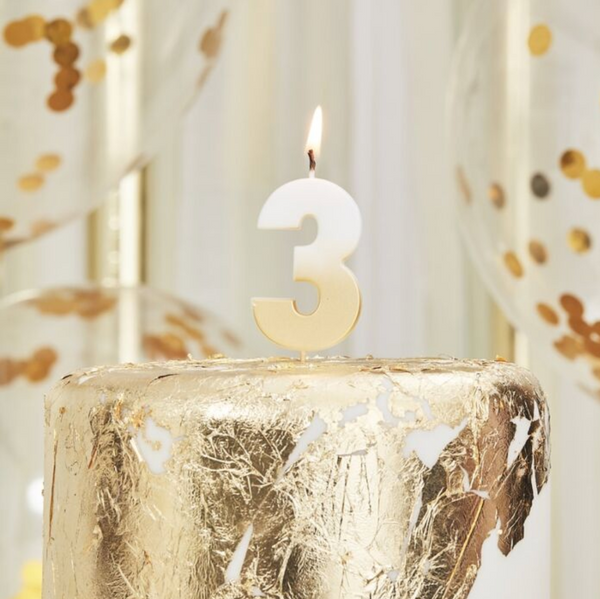 birthday candle, three, number, gold candle, birthday, party, decoration