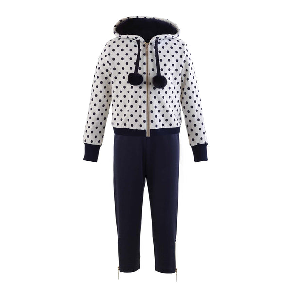 Faux Fur Trim Polka Dot Set