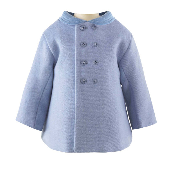Blue Velvet Trim Pram Coat