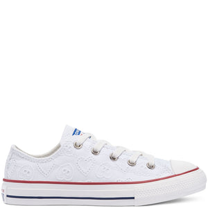 CONVERSE CTAS OX EV blanc broderie coeur Chaussures Basses Baskets Sneakers
