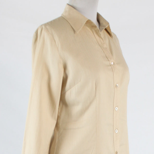 Beige and white pinstripe 100% cotton TALBOTS long sleeve button down blouse 4-Newish