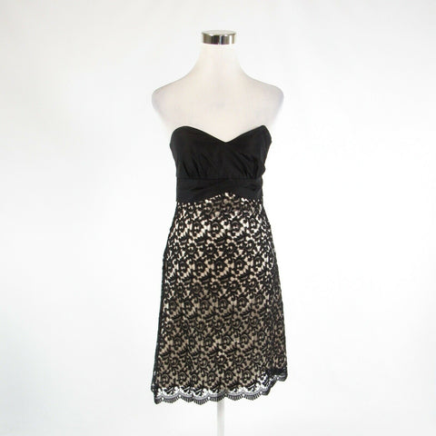 Black beige scroll lace WHITE HOUSE BLACK MARKET sleeveless empire waist dress 0