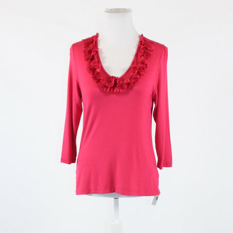 Dark pink stretch COLDWATER CREEK 3/4 sleeve v-neck ruffled trim blouse S