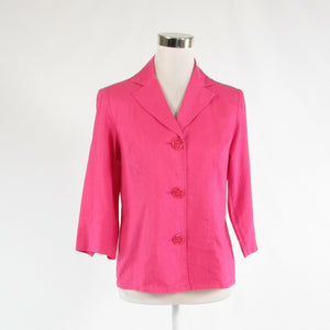 Bright pink linen blend SUSAN GRAVER 3/4 sleeve button down blouse XS-Newish