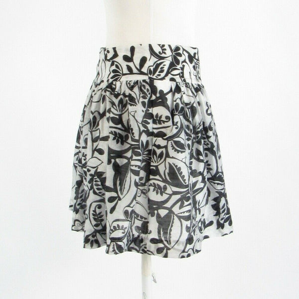Black white floral print EXPRESS DESIGN STUDIO A-line skirt 0-Newish