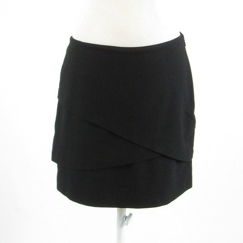 Black gray pin dot ANN TAYLOR LOFT stretch tiered skirt 4