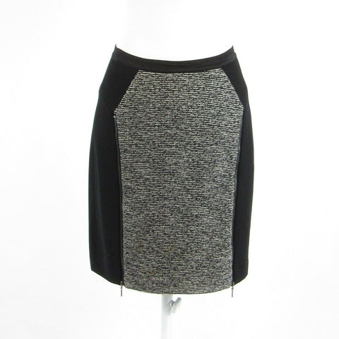 Black gray color block wool blend REBECCA TAYLOR stretch pencil skirt 4-Newish