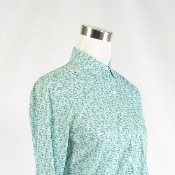 Light green blue 100% cotton J. CREW button chest long sleeve tunic blouse 0-Newish