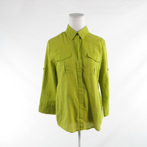 Light green linen blend CHAUS SPORT 3/4 sleeve button down blouse M