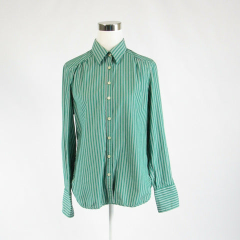 Green white striped 100% cotton MARTIN + OSA long sleeve button down blouse 12-Newish