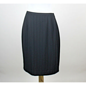 ANN TAYLOR black & white pinstripe straight knee-length skirt 8-Newish