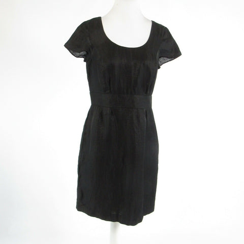 Black linen blend BANANA REPUBLIC cap sleeve empire waist dress 8P-Newish
