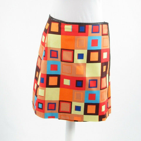 Light brown orange geometric cotton blend DAVID MEISTER wrap skirt 2