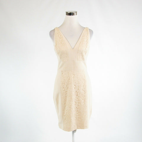 Light beige VERA WANG lace trim stretch sleeveless sheath dress 4