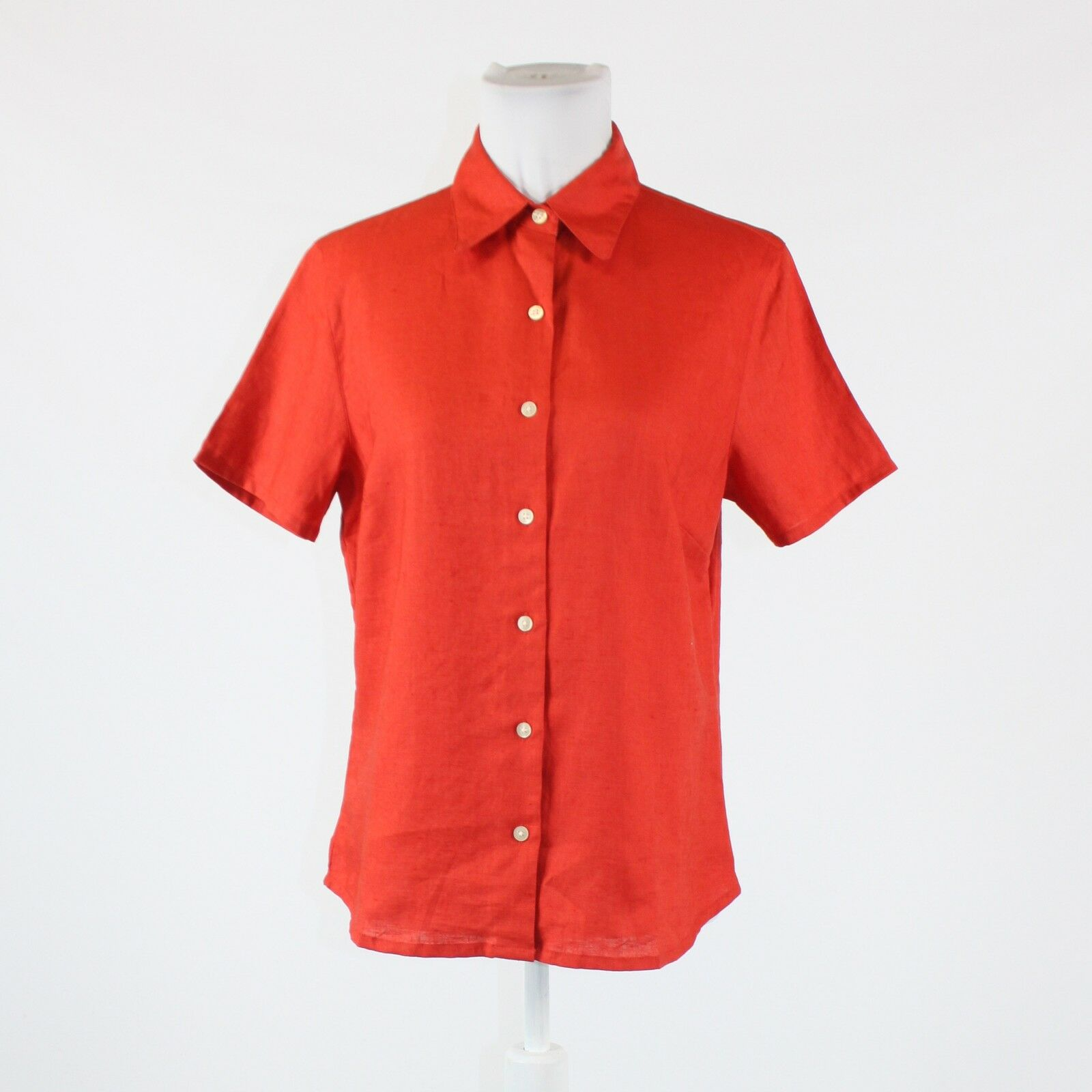 Dark orange 100% linen EDDIE BAUER short sleeve button down blouse M