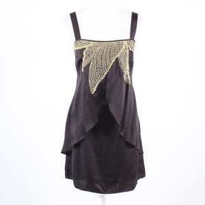 Dark brown 100% silk BETH BOWLEY gold embroidered and beaded chest shift dress 6