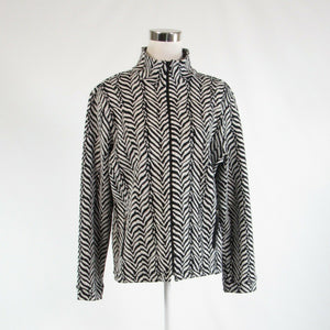 Black white zebra cotton blend RAFAEL stretch long sleeve jacket XL