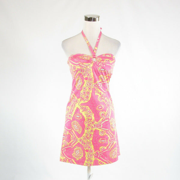 Pink yellow abstract TIBI stretch halter neck sun dress 2