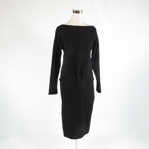 Black 100% cotton PEPE RUNA stretch 3/4 sleeve sheath dress L