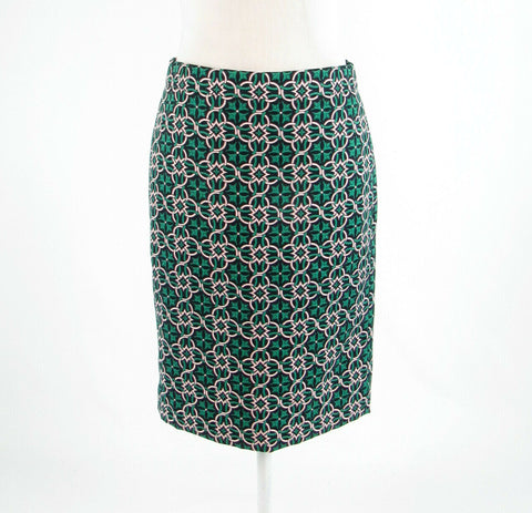 Black green geometric J. CREW pencil skirt 2