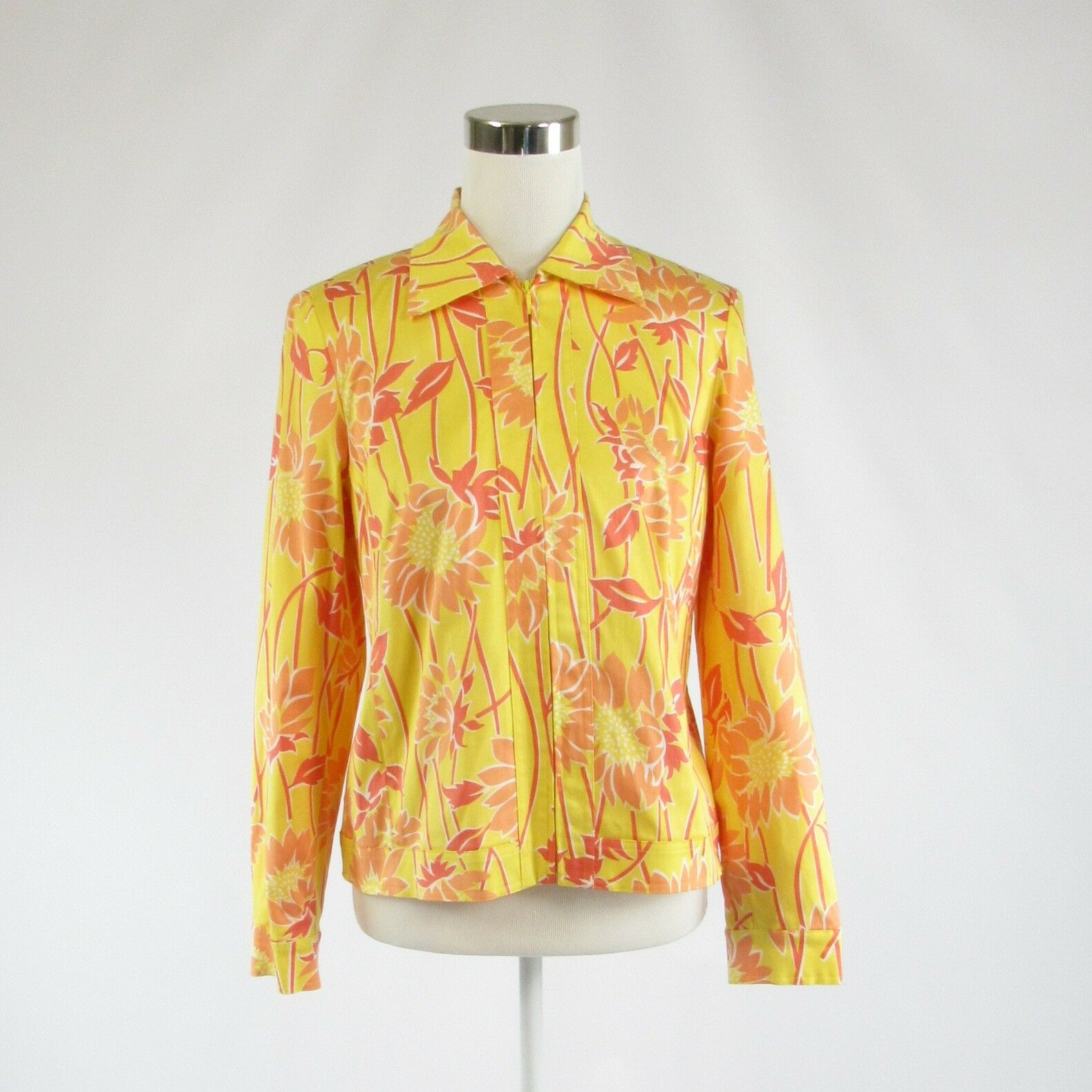 Yellow pink floral print cotton blend RAFAEL long sleeve jacket 6-Newish