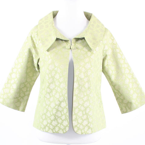 Light green gold geometric ANTHROPOLOGIE ELEVENSES 3/4 sleeve jacket 8