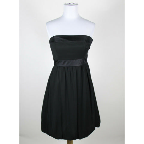 WHITE HOUSE BLACK MARKET black 100% silk strapless satin trim bubble dress 0-Newish
