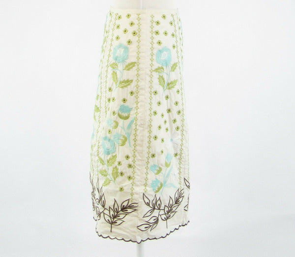 White green floral print 100% cotton HAROLD'S embroidered A-line skirt 0-Newish