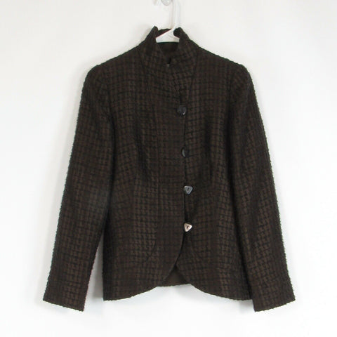 Brown textured ARMANI COLLEZIONI long sleeve blazer jacket 4