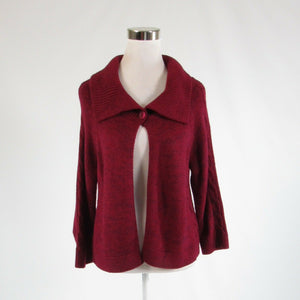 Maroon red purple NEW YORK and COMPANY 3/4 sleeve cardigan sweater L