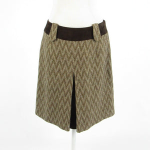 Taupe brown chevron tweed ETCETERA brown suede trim A-line skirt 6-Newish