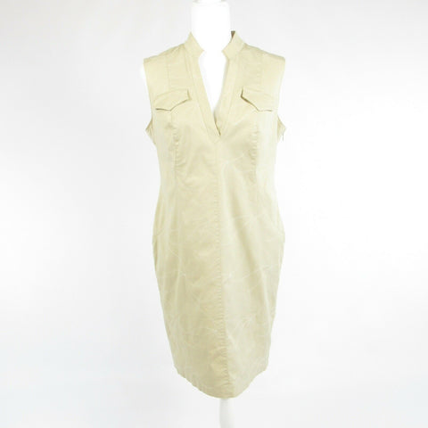 Beige white geometric cotton KAY UNGER sleeveless shift dress 12