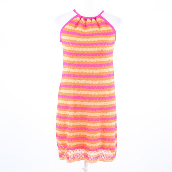 Fuchsia pink orange striped knit TRINA TURK Trina stretch sleeveless dress P
