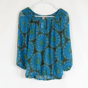 Turquoise blue geometric BANANA REPUBLIC blouse S
