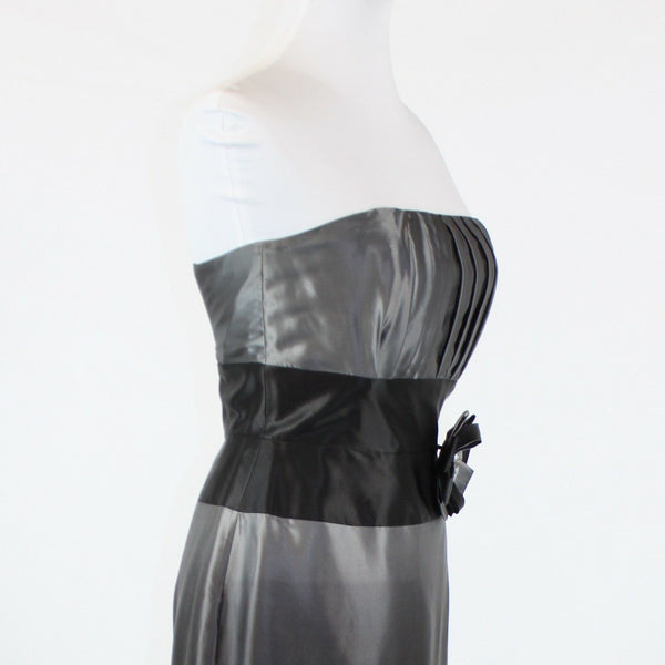 Charcoal gray black satin WHITE HOUSE BLACK MARKET strapless knee-length dress 2