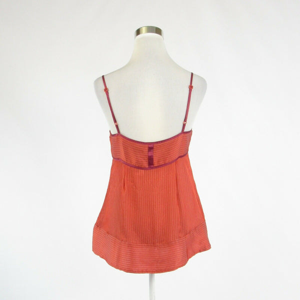 Coral orange white pinstripe 100% silk MARC JACOBS spaghetti strap cami blouse 6-Newish