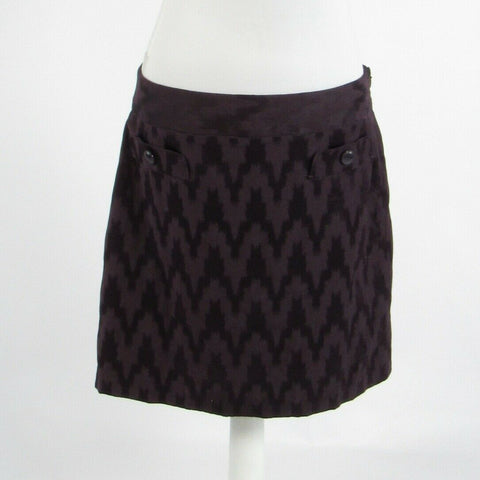 Dark purple chevron cotton blend ANN TAYLOR LOFT A-line skirt 10-Newish