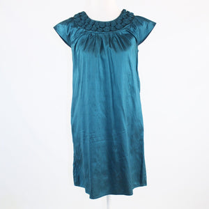 Teal green shimmery 100% silk CALYPSO St Barth cap sleeve shift dress S