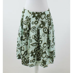 Light blue green floral print 100% cotton NEW YORK and COMPANY box pleated skirt 1