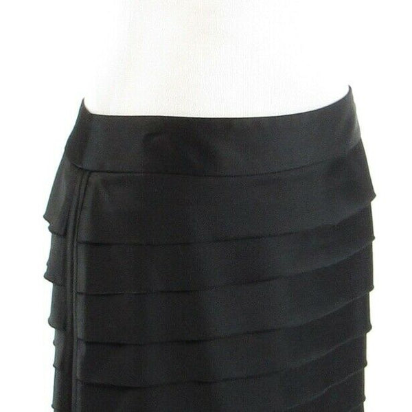 Black satin WHITE HOUSE BLACK MARKET tiered pencil skirt 6