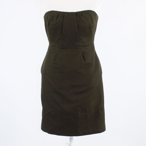 Dark brown 100% cotton J. CREW strapless sheath dress 2P