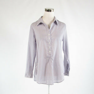 White purple striped 100% cotton COLDWATER CREEK button down blouse PS