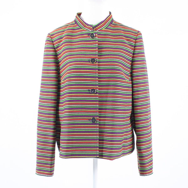 Navy blue multicolor striped shimmery cotton blend TALBOTS long sleeve jacket 16